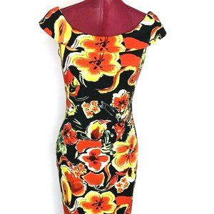 Joseph Ribkoff Dress 8 Red Floral Off The Shoulder